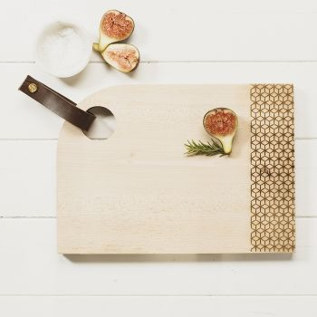 Medium Curved Sycamore Geo Print Serving Board with Leather Tab by Scottish Made