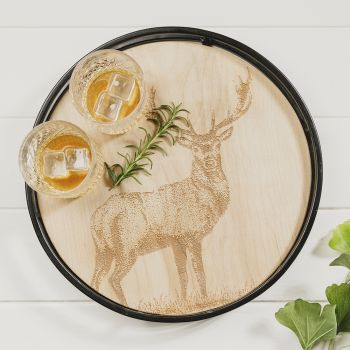 Product Image Monarch Stag Round Metal Framed Sycamore Serving Tray at JustSlate