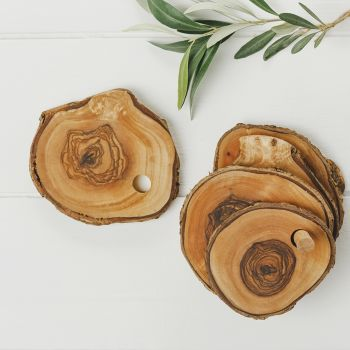 Olive Wood Rustic Coaster Set (x6)