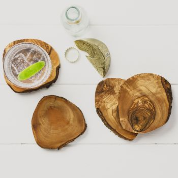 Mediterranean Gift Boxed Set of 4 Rustic Olive Wood Coasters Set from Naturally Med