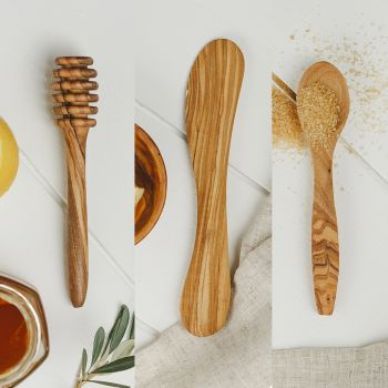 Olive Wood Set of 3 Condiment Tools