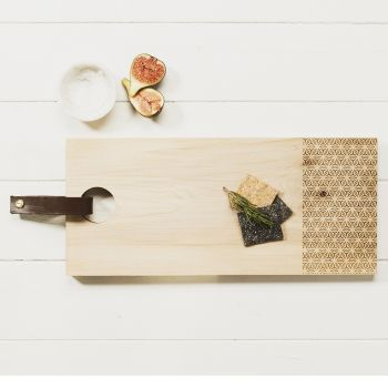 Rectangular Sycamore Geo Print Serving Board with Leather Tab by Scottish Made