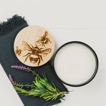 Scented Candle with Bee Engraved Lid