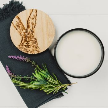 Scented Candle with Hare Engraved Lid