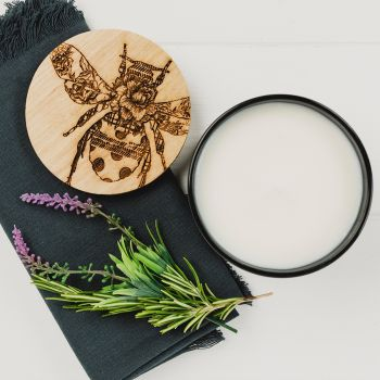 Scented Candle with Patterned Bee Engraved Lid