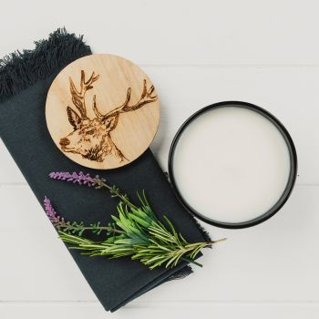 Scented Candle with Stag Engraved Lid