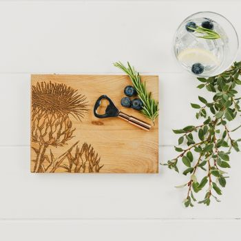 Thistle Oak Cutting Board & Bottle Opener Set