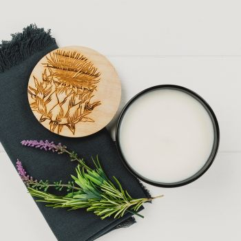 Scented Candle with Thistle Engraved Lid