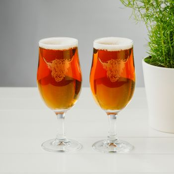 Buy Set of 2 Highland Cow Engraved Style Craft Beer Glasses