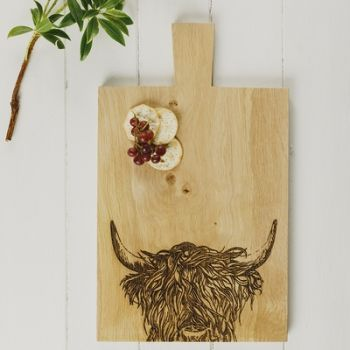 Large Highland Cow Oak Serving Paddle